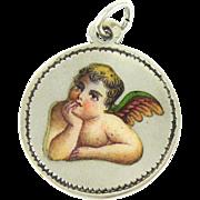 Victorian Enamel Angel Pendant, Cherub Charm Dated 1890s in Sterling Silver with Script Monogram.