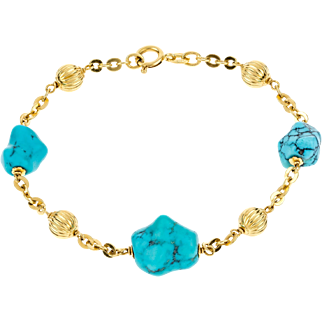 Estate Turquoise 18ct Gold Bracelet, Large Turquoise with Grooved Gold Beads Station Bracelet.