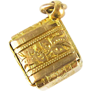 Antique Victorian Cube Charm, Engraved Foliate Leaf Design Folded Square 9ct Pendant. Circa 1880s.