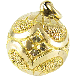 Antique Victorian 9ct Gold Charm. Sphere Bauble Pendant with Flowers & Sunburst Engraving, Circa 1880s.