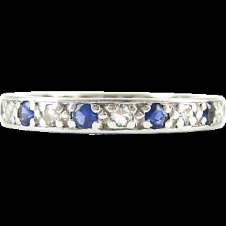 Vintage Sapphire & Diamond Eternity Ring, Alternating Blue Sapphires and Diamonds. Circa 1930s, 18ct, Size M.5 / 6.5.
