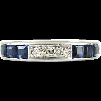Sapphire & Diamond Eternity Ring, Art Deco Full Hoop Wedding Ring Channel Set in Platinum. Size L.5 / 6, Circa 1930s.