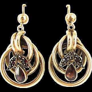 Antique 9ct Garnet Dangle Earrings, Hoop Style Floral Design Drops with Pear Rose Cut Garnets. Circa 1900, 9k.
