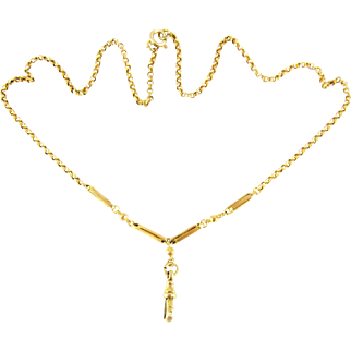 Antique 9ct Blecher Chain with Pendant Holder, 9k Fancy Link Necklace with Dog Clip. Circa 1900, 45 cm / 17.7 inches.