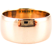 1920s 9ct Gold Wedding Ring, Wide Rose Gold Ladies D Shape Profile Band. Circa 1920s, Size L.25 / 6.