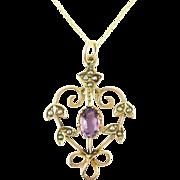 Edwardian Amethyst & Split Pearl Pendant. Floral Design 9ct Gold Pendant, Circa 1900s on 9k Chain.