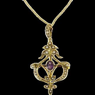 Edwardian Amethyst & Split Pearl Pendant. Floral Design 15ct Gold Brooch, Circa 1900s on 9k Chain.