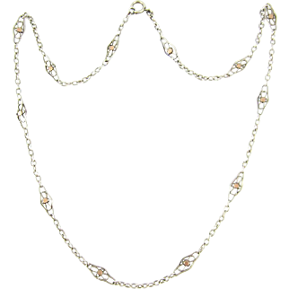 Antique French 800-900 Silver & Rose Gold Necklace. Filigree Link Chain with 9ct Gold Overlay. French, Circa 1910s, 53.5 cm / 21 inches.