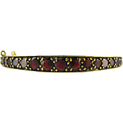 Antique Czech Garnet Bracelet, Bohemian Victorian Rose Cut Garnet Bangle. Circa 1880 - 1900.