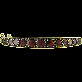 Antique Czech Garnet Bracelet, Bohemian Victorian Rose Cut Garnet Bangle. Circa 1880 - 1900.