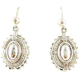 Antique Victorian Dangle Earrings, Sterling Silver Oval Drops with Rope & Bead Design Engraving. Circa 1880s.