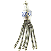 Victorian Sterling Silver & Blue Enamel Tassel Charm. 6 Strand Tassel for Fob with Decorative Enamel Detail, Circa 1890s.