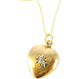 Victorian 15ct Puffed Heart Pendant with Old Cut Diamond, Circa 1890s.