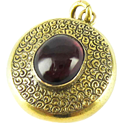 Antique Garnet Pendant with Hair Locket Back. Victorian 9ct Gold Engraved Memorial Pendant with Garnet Cabochon, Circa 1880s.