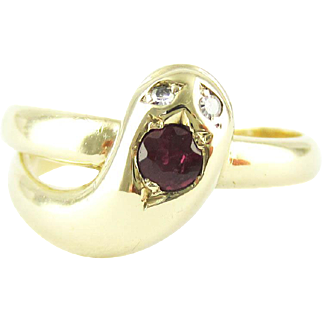 Vintage Snake Ring with Ruby Head & Diamond Eyes, Coiled Serpent Ring. 9 ct Yellow Gold, Circa 1980s.
