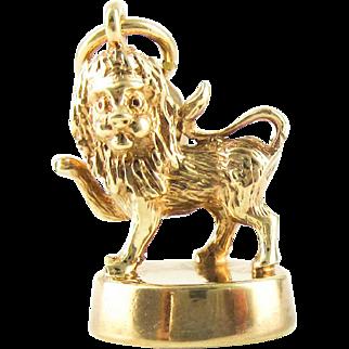 Antique Lion Passant 9ct Charm, Late Victorian Lion on Pedestal Pendant.