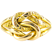 Edwardian 18ct Lover's Knot Ring, Intertwined Chased Double Knot Ring. Chester 1901, Size Q / 8.25.