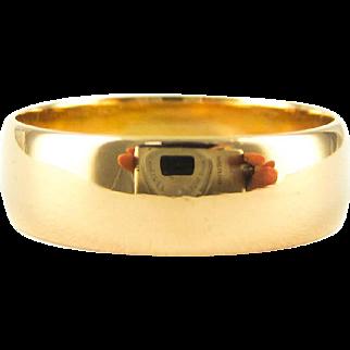 Victorian 22 ct Wide Wedding Ring, Antique Cigar Style Ladies Wedding Band. Hallmarked 1900, Size L.5 / 6.