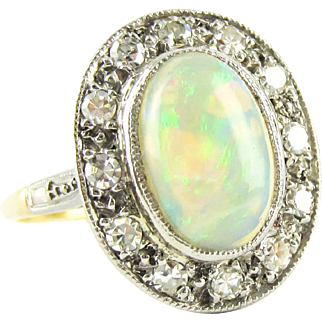 Vintage Opal & Diamond Ring, Oval Cut Opal Cabochon with Diamond Halo. Cocktail Ring in 18ct Plat.