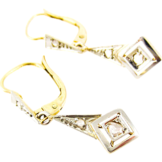 Antique Diamond Drop Earrings, Rose Cut Diamonds in Tapered Style Settings with Milgrain Beading. Circa 1900.