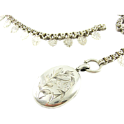 Victorian Collar Necklace & Locket, Antique Fancy Link Sterling Silver Chain with Morning Glory Engraved Large Locket. Circa 1880s.