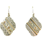 Victorian Sterling Silver Engraved Dangle Earrings with Floral 9ct Rose & Green Gold Accents. Circa 1880s.