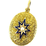 Victorian 15ct Blue Enamel & Cultured Pearl Locket Pendant. Engraved Oval Mourning Pendant with Enamel Star and Dried Flowers, Circa 1870s.
