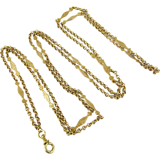 Antique Pinchbeck Guard Chain, Circa 1890s Floral Fancy Link Long Guard Necklace.