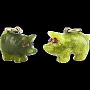 Antique Pig Charms, Pair of Green Jade & Irish Connemara Marble Lucky Pig Charms, Circa 1900.