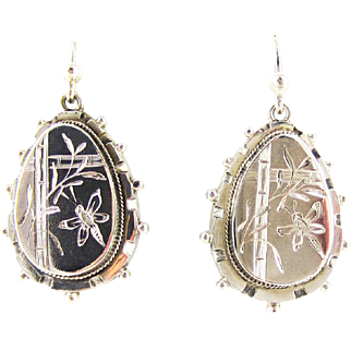 Victorian Sterling Silver Earrings, Antique Dragonfly & Bamboo Design on Pear Shaped Drop Earrings, Circa Mid 1800s.