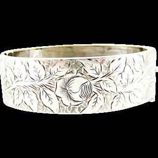 Victorian Sterling Silver Bracelet, Engraved Rose Flower Blossom Design Antique Bangle. Circa 1880s.