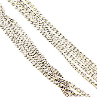 Antique Long Guard Chain Necklace, 800 900 Coin Silver Victorian Chain with Dog Clip. 148 cm / 58 inches, 51.8 grams.