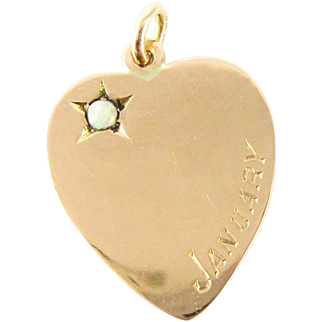 Antique Love Heart Pendant, 9ct Rose Gold Charm with Opal Inscribed January. Circa 1910s.