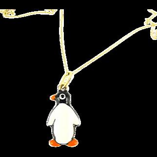 Vintage Enamel Penguin Charm, Mid Century 9ct Yellow Gold Pendant on 9k Chain.