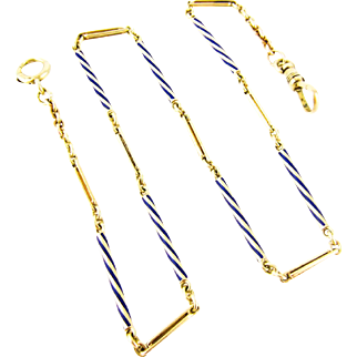 Antique 14K Gold Watch Chain, Enamel Fancy Link Choker with with Dog Clip & Oversize Bolt Clasp. 37 cm / 14.5 inches, Circa 1900.