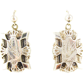 Victorian Sterling Silver Earrings, Antique Diving Swallows Engraved Design on Rectangle Shaped Drop Earrings, Circa 1880s.
