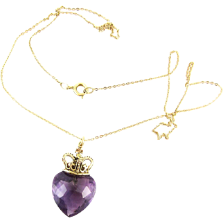 Crowned Amethyst Heart Pendant, 9ct Gold Purple Amethyst with Imperial State Coronation Crown on 9k Chain.