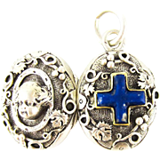 Antique Laps Lazuli & 800 900 Silver Locket, Edwardian French Pendant with Cherub and Grape Leaf Design, Circa 1900.