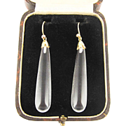 Art Deco Rock Crystal Earrings, 18ct Yellow Gold. Vintage Long Tapered Crystal Drops, Circa 1920s.