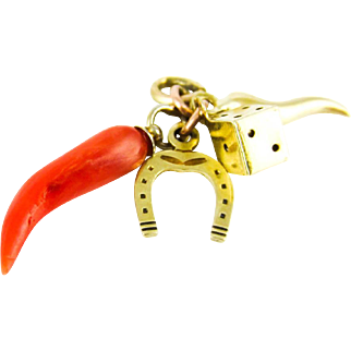 Antique Lucky Charms. Miniature 9 ct Dice, Horseshoe, Lucky Horn & Silver Coral Horn.