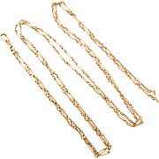 Antique Gold Filled Long Guard Chain, Oblong Trombone Link Chain with Swivelling Dog Clip. Circa 1880s, 142 cm / 56 inches.