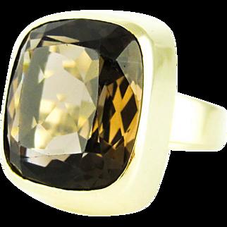 Mid Century Smoky Quartz Ring, Large Cushion Cut Single Stone Brown Quartz Bezel Set in 14k Yellow Gold.