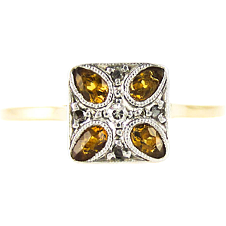 Art Deco Citrine & Diamond Engagement Ring, Square Ring with Pear Cut Yellow Citrines. Circa 1930s, 18ct PLAT.