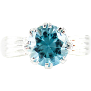 1950s Blue Zircon Ring, Vintage Single Stone Ring in Bow Style 9 ct White Gold Mounting.