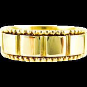 Antique Wide 18ct Wedding Ring, Beaded Edge Men's Wedding Band. English Hallmarked 1880s.