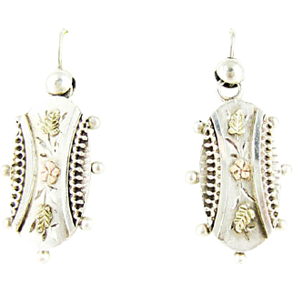 Victorian Floral Earrings, Sterling Silver 9ct Aesthetic Movement Dangle Earrings. Circa 1880s.
