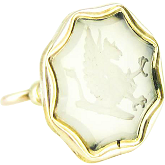 Victorian Griffin Gold Filled Seal. Mythical Creature Engraved in White Quartz. Antique Intaglio Watch Fob.