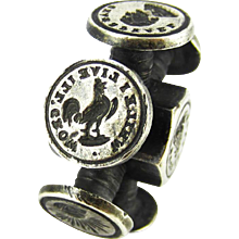 Antique Victorian Intaglio Seal Wheel. Multi Wax Seals: Hand with Heart, Ship, Forget Me Not, Dog, Masonic Eye. Circa 1880s.