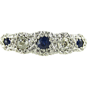 Antique Five Stone Diamond Ring, Graduated Blue Sapphires & Old Mine Cut Diamonds. Circa 1880s, 18ct PLAT.