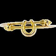 Antique 9ct Horseshoe Bracelet, Victorian Gold Bypass Design Lucky Horseshoe Bangle.